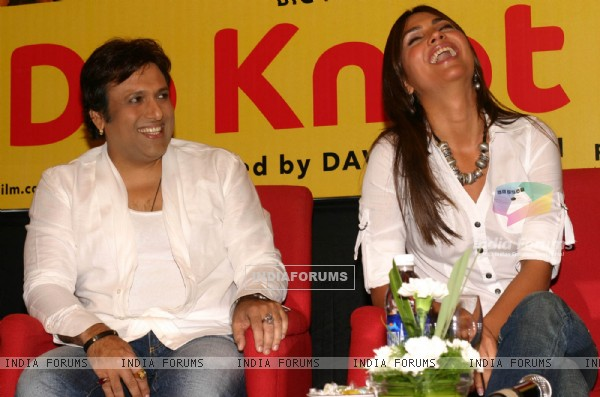"Actors Govinda and Lara Dutta and Ritesh Deshmukh at a press meet for the film ""Do Knot Disturb"" in New Delhi on Tuesday 15 Sep 09"