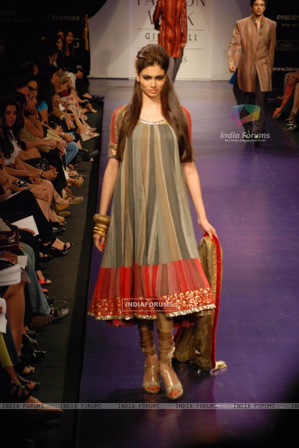 Models at the ramp of Manish Malhotra brought razzle dazzle at Lakme Fashion Week for spring/summer 2010