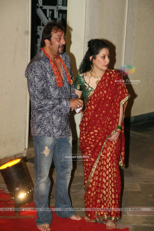 Sanjay Dutt and his wife Manyata Dutt at Mata Ki Chowki at Bandra