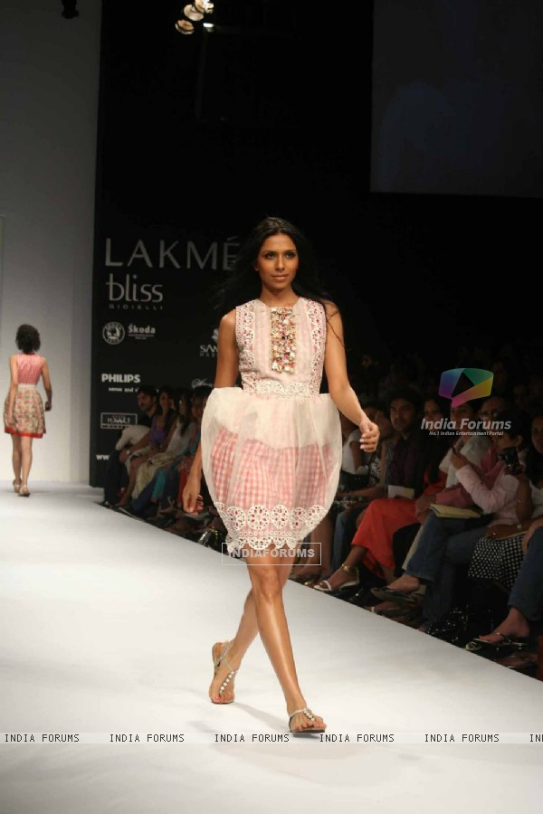 A model walks the runway at the Rehane show at Lakme Fashion Week Spring/Summer 2010
