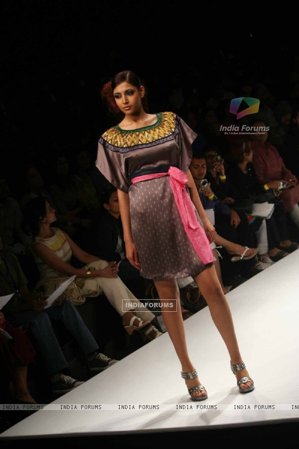 A model walks the runway at the Anupama Dayal show at Lakme Fashion Week Spring/Summer 2010
