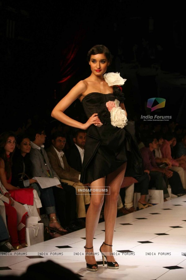 A model walks the runway at the Gauri and Nainika show at Lakme Fashion Week Spring/Summer 2010
