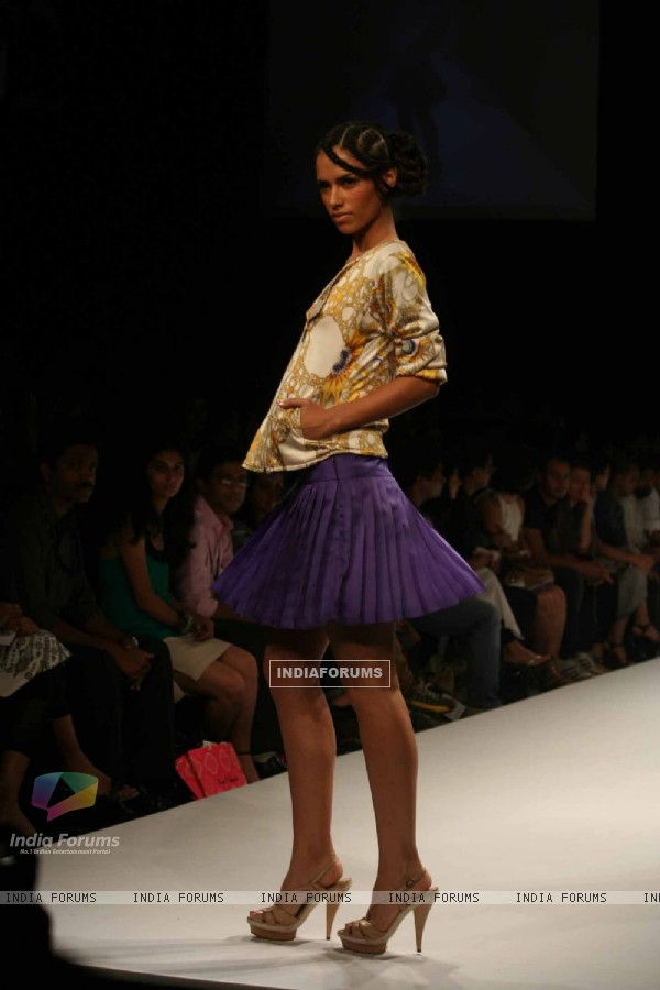 A model walks the runway at the Chaitanya Rao show at the Lakme Fashion Week Spring/Summer 2010 Day 5, in Mumbai
