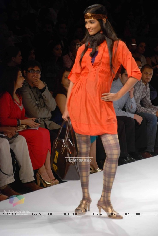 A model walks the runway at Narendra Kumar show at the Lakme Fashion Week Spring/Summer 2010 Day 5, in Mumbai