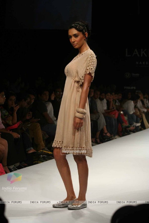 A model walks the runway at Preeti Chandra show at the Lakme Fashion Week Spring/Summer 2010 Day 5, in Mumbai