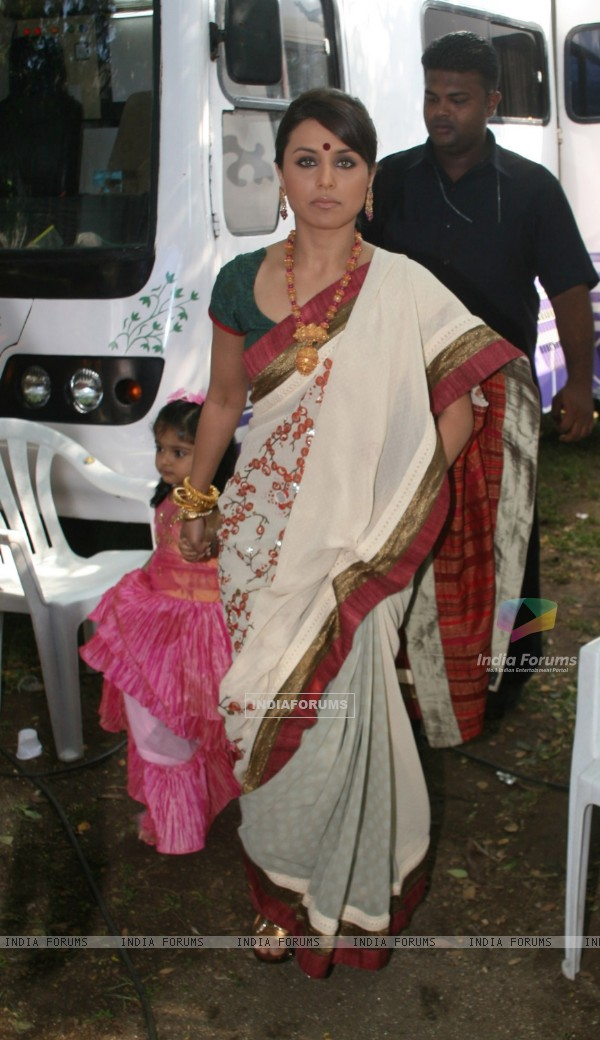 Rani Mukherjee arrives at a Durga Pooja pandal in Mumbai