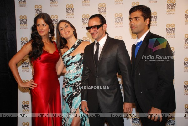 Katrina Kaif, Kareena Kapoor, Saif Ali Khan and Karan Johar at GQ Man of the Year Award Function