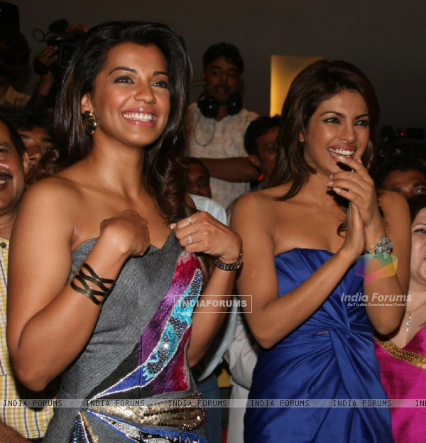 Priyanka Chopra and Mugdha Godse at the music launch of her forthcoming movie Jail at a multiplex in