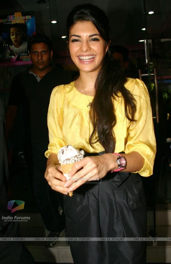 Bollywood actress Jacqueline Fernandez at the Baskin Robbins ice cream shop, in New Delhi on Saturday 10 oct 2009
