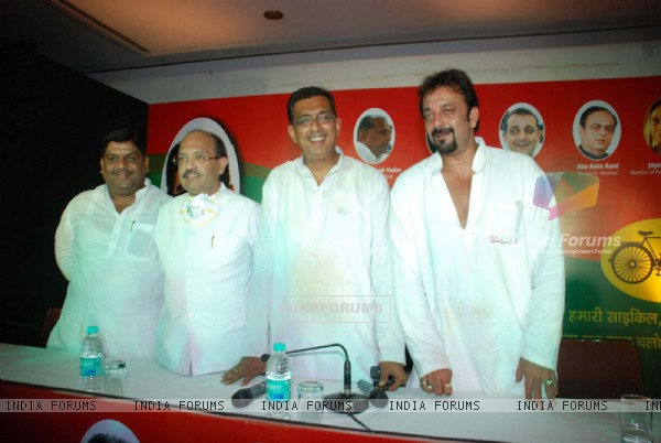 Bollywood star Sanjay Dutt (extreme right) with Samajwadi Party leader Amar Singh (second from left)