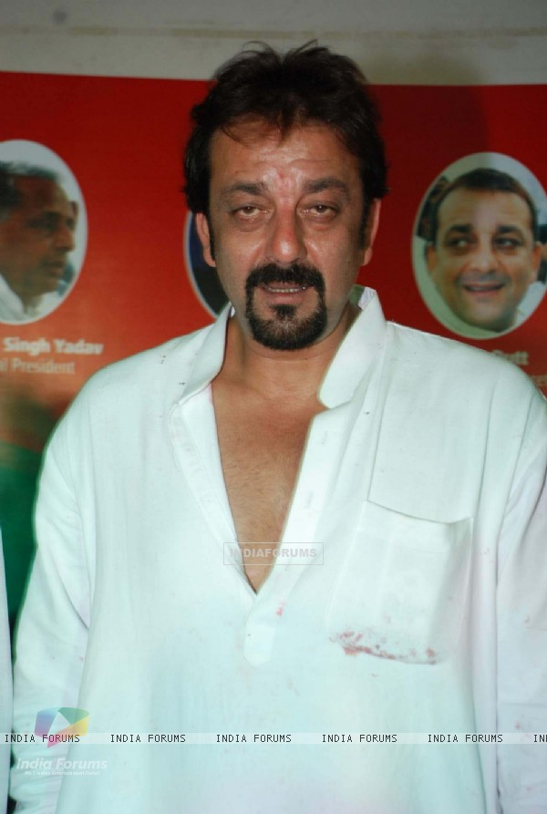 Samajwadi Party leader Amar Singh with Bollywood star Sanjay Dutt