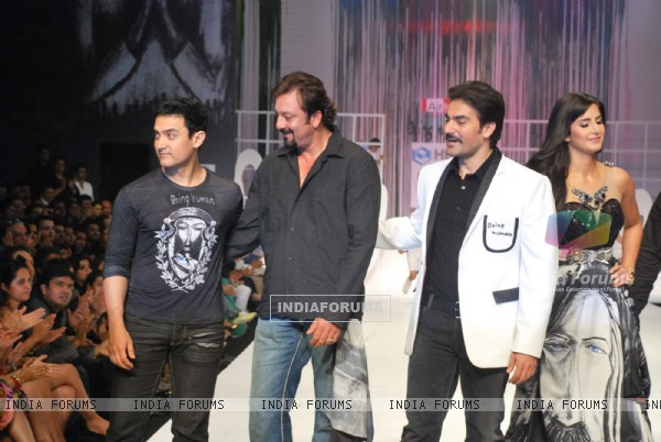 Aamir Khan, Sanjay Dutt and Arbaaz Khan at Salman Khan''s Being Human show at HDIL India Couture Week on Day 2