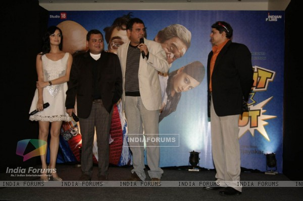 "Bollywood actors Cyrus Broacha, Boman Irani and Dia Mirza at a promotional event for their forthcmong movie ""Fruit N Nut"" in Mumbai"