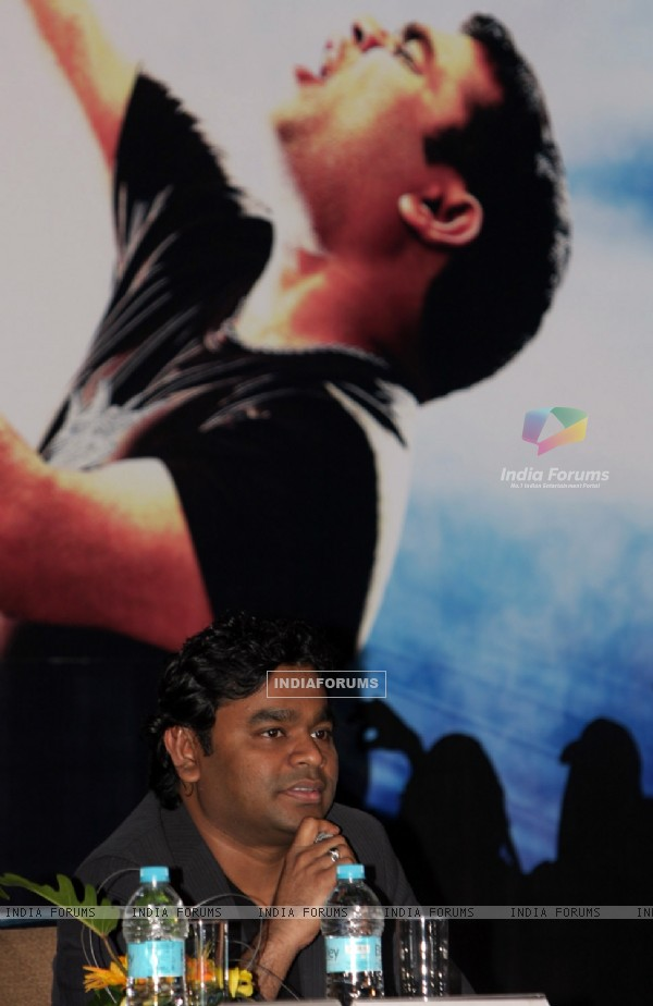 AR Rahman shares a charity stage in Kolkata on 14th Oct 09 he is at a press conferance