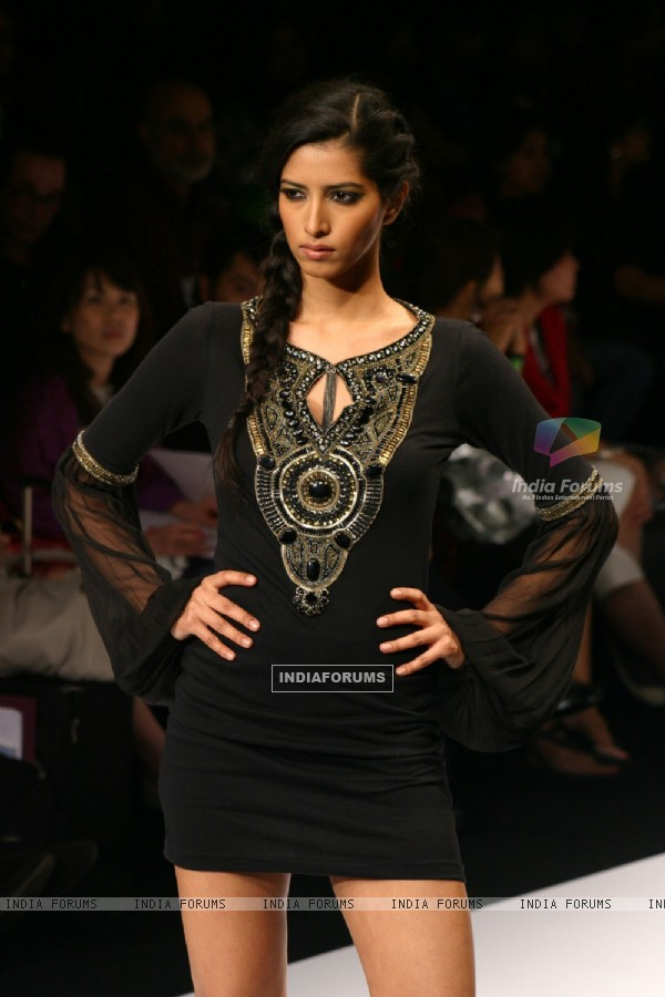 A model showcasing designer Kavita Bhartia''s creation at the Wills Lifestyle India Fashion week in New Delhi on Sunday