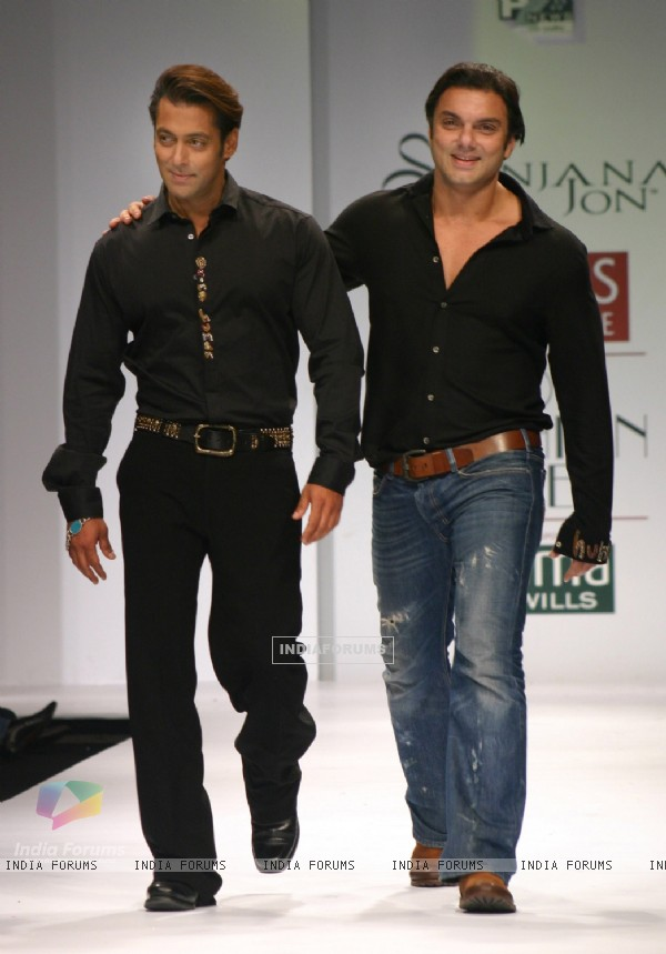 Salman Khan and his brother Sohail Khan at the designer Sanjana Jon show at the Wills Lifestyle India Fashion Week in New Delhi on Sunday 25 Oct 2009