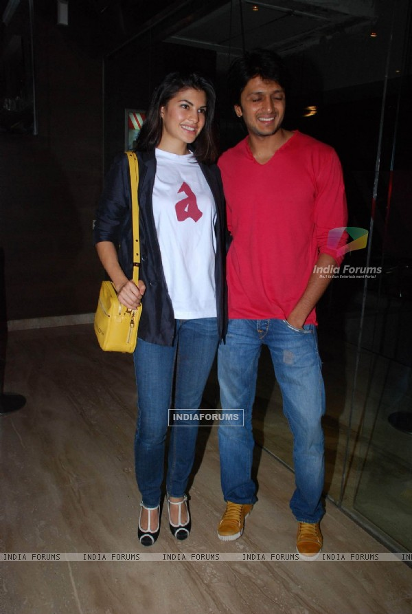Jacqueline Fernandes and Ritesh Deshmukh at Alladin Premiere in Cinemax