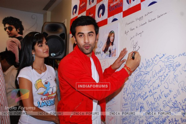 "Ranbir Kapoor and Katrina Kaif promote their film ""Ajab Prem ki Gazab Kahani"" at Reliance Trends"