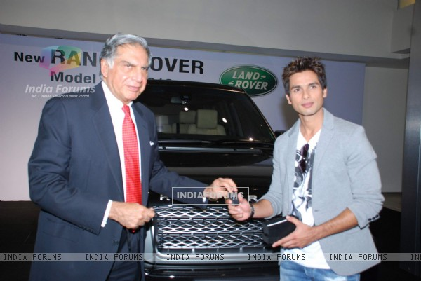 Shahid Kapoor receiving the keys of his new Range Rover Model Year 2010 from Mr Ratan N Tata, Chairman, Tata Sons & Tata Motors, at the Jaguar Land Rover Showroom in Mumbai on 2nd November 2009 Mr Kapoor purchased this Range Rover""