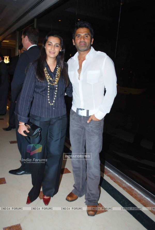Bollywood actor Sunil Shetty with wife at Human Trafficking NGO Event at Taj land''s End in Mumbai