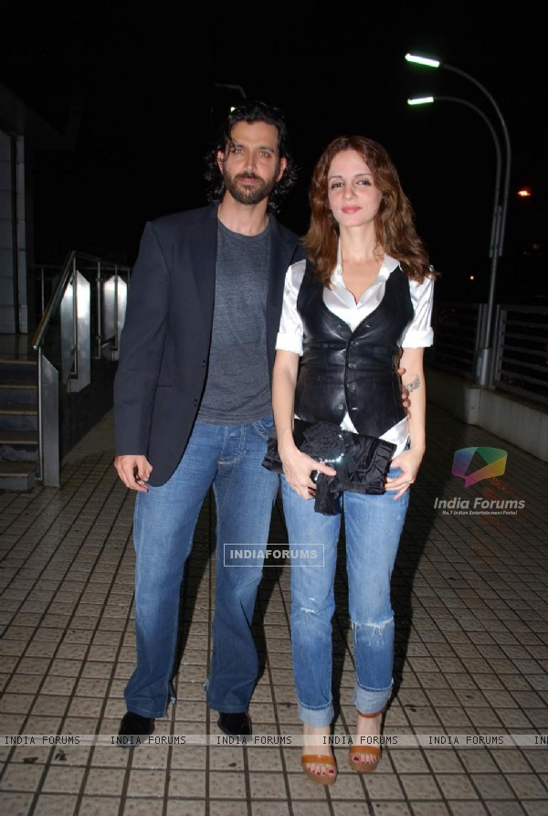 "Bollywood actors Hrithik Roshan and Suzanne Roshan at the special screening of film ""Aao Wish Karein"", PVR Juhu"