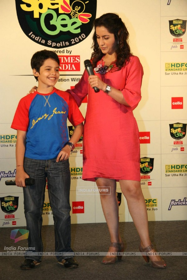 Bollywood Child Actor Darsheel Safary and Tisca Chopra at the Launch of ''HDFC Standard Life Spell Bee- India Spells 2010'' in Mumbai on Wednesday, 11 November 2009