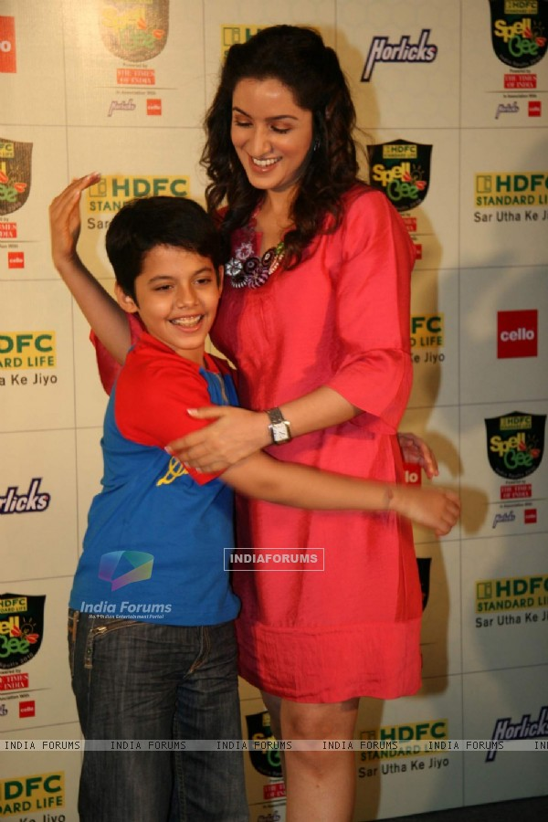 Bollywood Child Actor Darsheel Safary and actress Tisca Chopra at the Launch of ''HDFC Standard Life Spell Bee- India Spells 2010'' in Mumbai on Wednesday, 11 November 2009