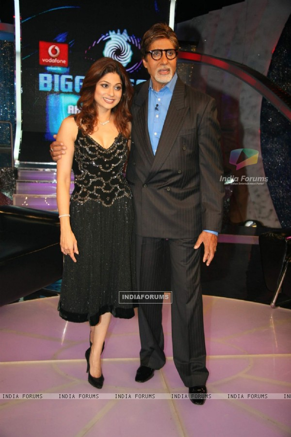 Amitabh Bachchan and Shamita Shetty on the sets of Big Boss at Lonavala