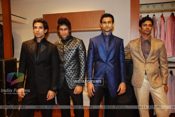 Models at Narendra Kumar Ahmed''s Men''s Collection launch, AZA