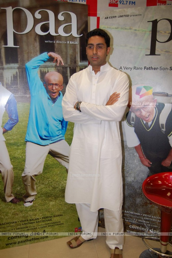 Bollywood Actor Abhishek Bachchan during the promotion of forthcoming film ''Paa'' at BIG FM 927 in Mumbai on Monday, 16 November 2009