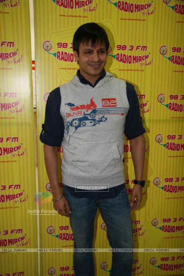 "Vivek Oberoi at the promotional event of his upcoming event ""Kurbaan"" at Radio Mirchi office in Mumb"