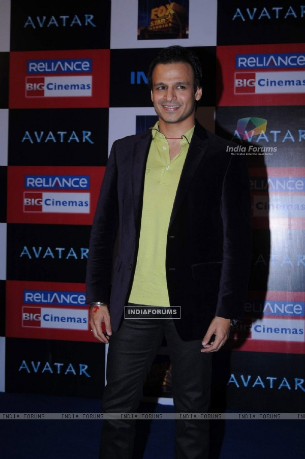 "Bollywood actor Vivek Oberoi at the premier of Hollywood movie ""Avataar"" at INOX"