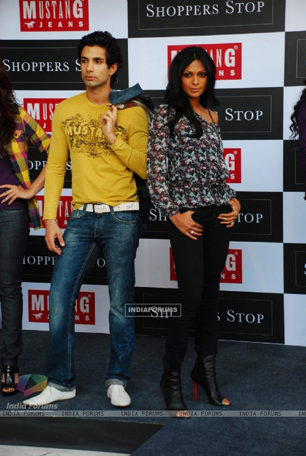 Top Models flaunting the launch of Mustang Jeans at Shoppers Stop, Juhu