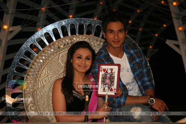 Bollywood actor Shahid Kapoor and Rani Mukherjee on the sets of Dance Premiere League at Chembur