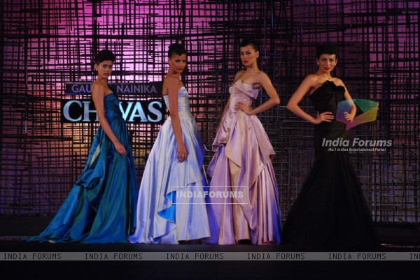 Models walking at designers Gauri, Nainika and JJ Valaya Show at Chivas Tour at Grand Hyatt