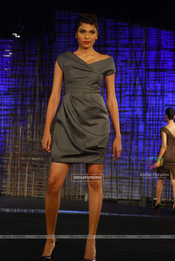 A model walking at designers Gauri, Nainika and JJ Valaya Show at Chivas Tour at Grand Hyatt