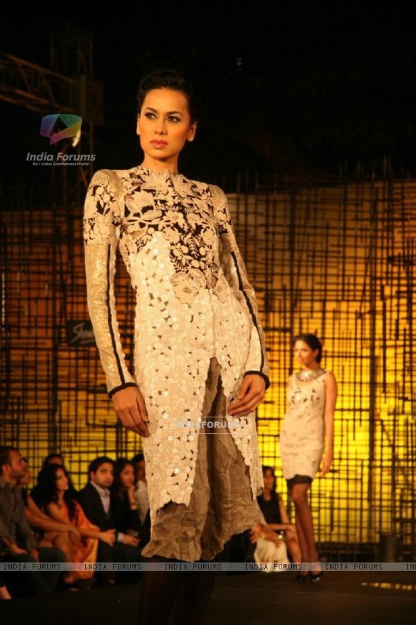 A model walking at designer Wendell Rocdericks Show at Chivas Tour at Grand Hyatt