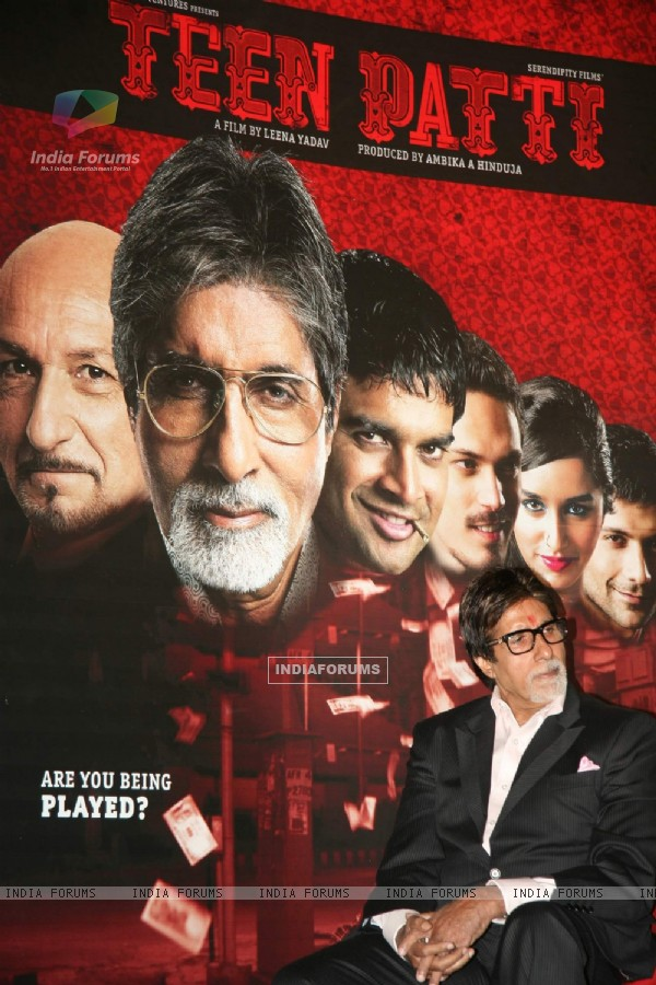 "Mega Star Amitabh Bachchan at the press meet of ""Teen Patti"" in Cinemax in Mumbai"