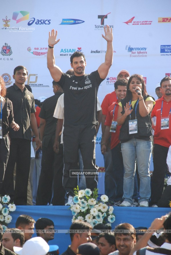 Bollywood actor John Abraham at Marathon High Res in Mumbai