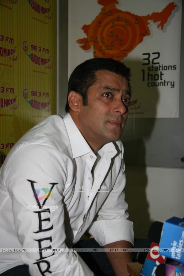 "Bollywood actor Salman Khan at the promotional event of his upcoming film ""Veer"" at Radio Mirchi studio at Parel"