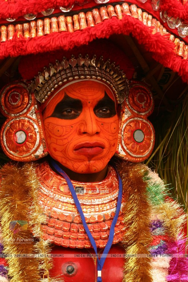 A Folk artist from Kerala at the press preview for the Republic Day Tableaux, in New Delhi on Friday 22 Jan 2010