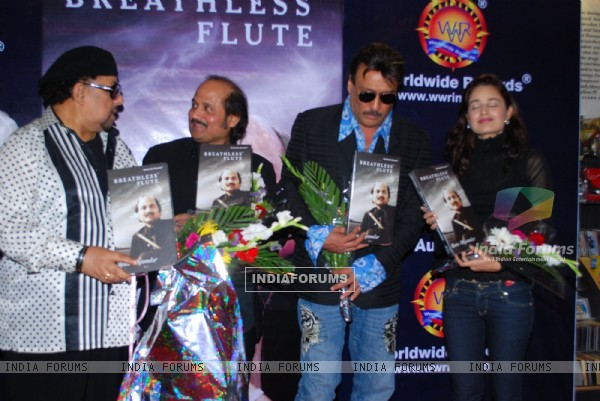 "Jazz Musician Louis Banks, Pandit Ronu Majumdar, Jackie Shroff and Yuvika Chaudhary pose for the photographers during their album launch of ""Breathless Flute"" in Mumbai"