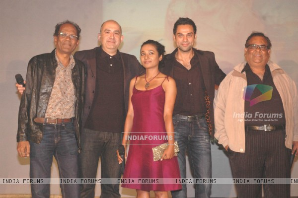 Virendra Sakshena, director Dev Benegal, Tanishtha, Abhay Deol and Satish Kaushik at Road movie media meet at Bandra, Mumbai on Wednesday Night