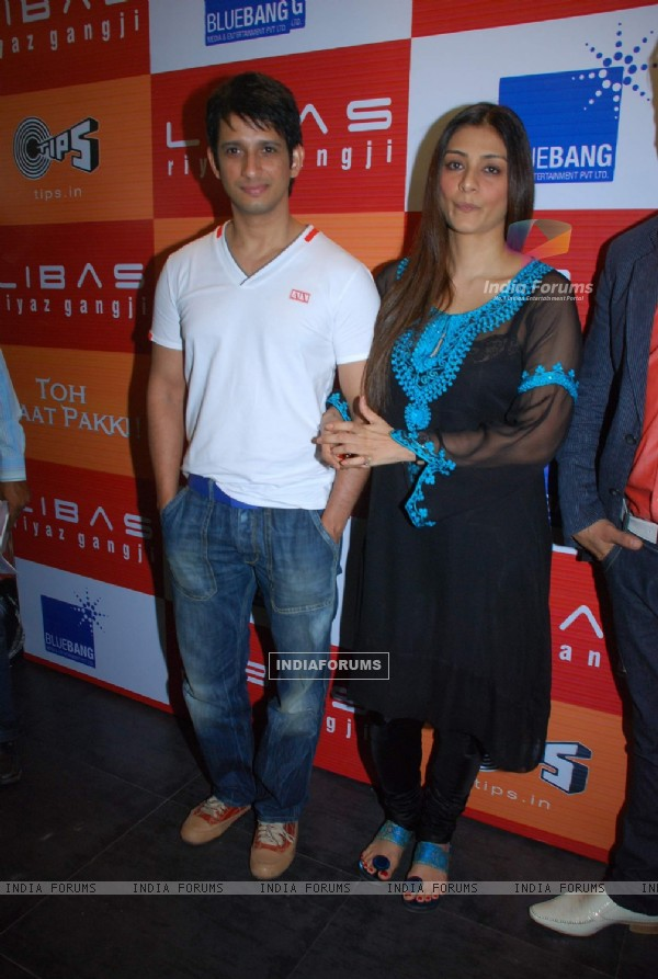 "Bollywood actors Tabu and Sharman Joshi at the promotional event of their upcoming movie ""Toh Bat Pakki"" at Riyaz Ganji store in Juhu, Mumbai"