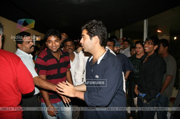 Filmmaker Karan Johar interacts with crowds at Cinemax at Andheri