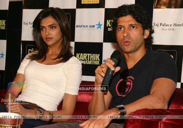New Delhi,22 Feb 2010-Bollywood actors Deepika Padukone and Farhan Akhtar in New Delhi to promote their film ''''Karthik calling Karthik'''' on Monday