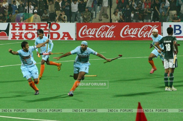 Prabhjot Singh scored third goal for the India during the Hero Honda World Cup on New Delhi, 28 Feb 2010