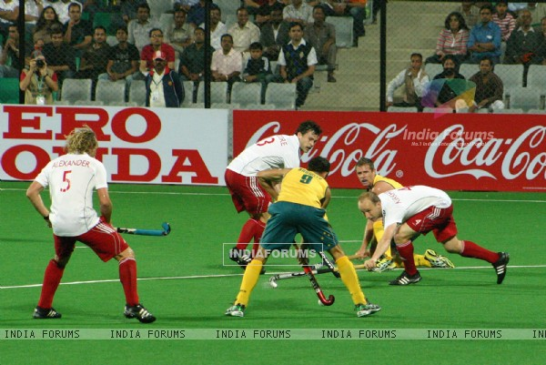 The match England Vs Australia during the Hero Honda Hockey World Cup on New Delhi, 28 Feb 2010