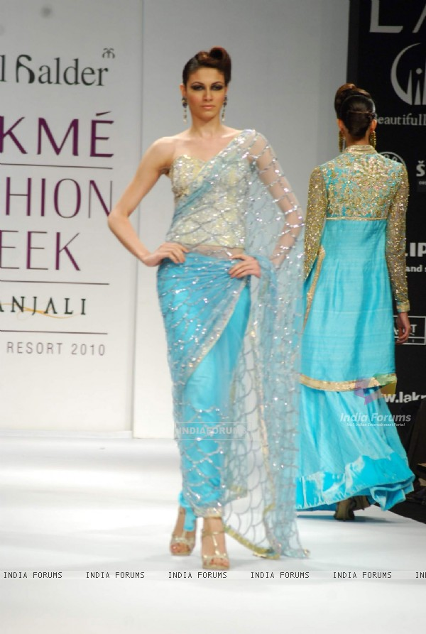 Model walks on the ramp for designer Abdul Halder at Lakme Fashion Week 2010