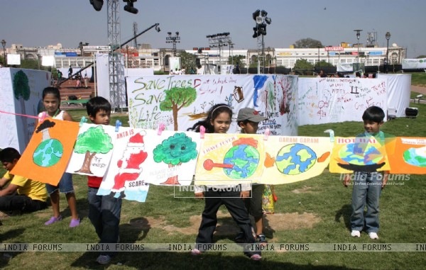"Children at ""Green Mela""as a part of Greenathon at Central Park, Connaught Place in New Delhi on Sunday"